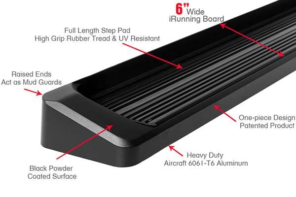 aps 6 iboard running boards black or polished free. Black Bedroom Furniture Sets. Home Design Ideas