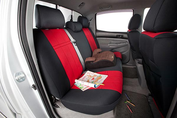 CalTrend NeoSupreme Covers Rear Seats Red with Black Trim