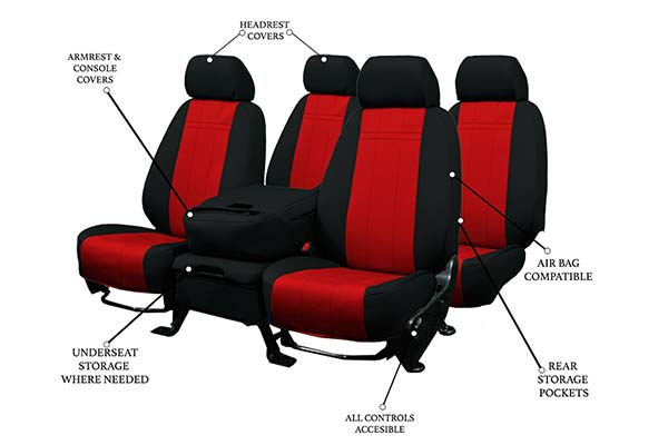CalTrend Neosupreme Seat Covers Features Red with Black Trim