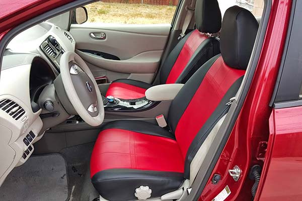 CalTrend Neosupreme Seat Covers Front Row Red with Black Trim