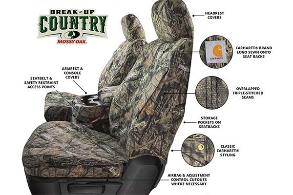 Break-Up Country Covercraft Carhartt Mossy Oak Camo SeatSaver Second Row Custom Fit Seat Cover for Select Honda Ridgeline Models Duck Weave