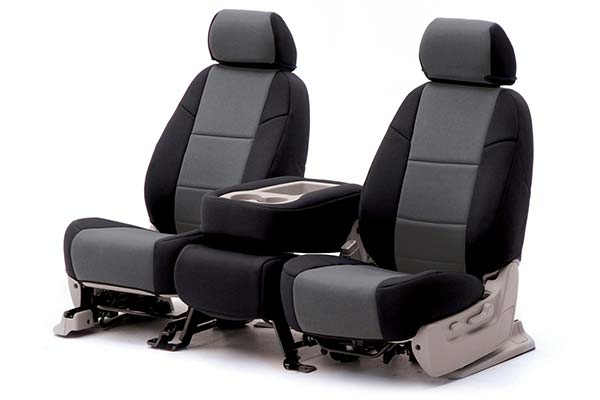 grey and black seat covers