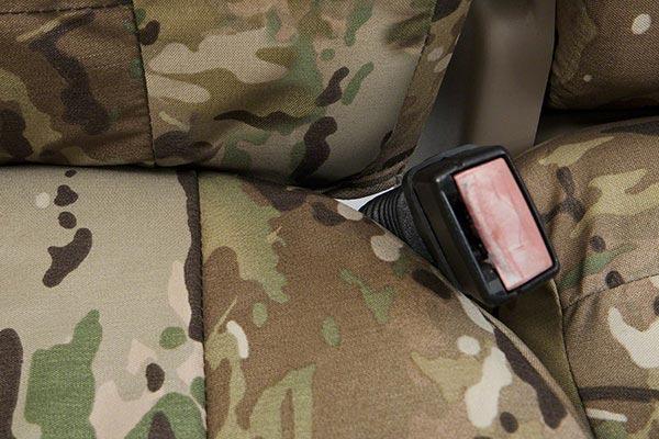 coverking multicam camo ballistic seat covers belt buckle