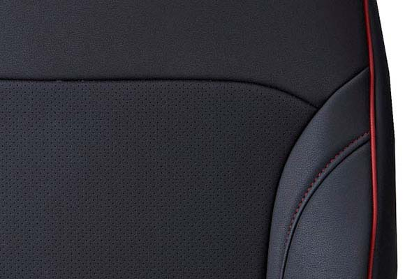 Black and Red Stitching with Plain Insert Close Up