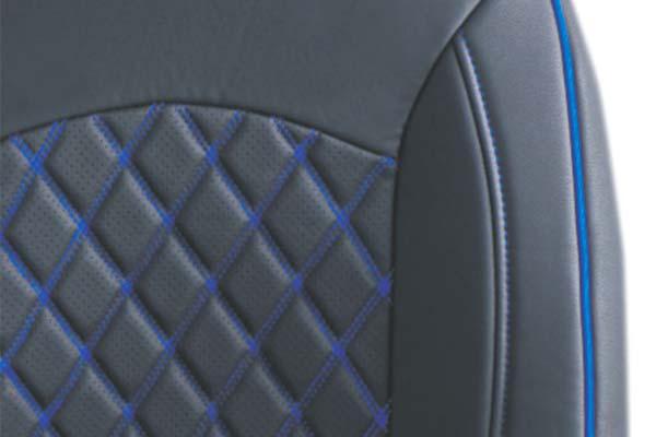 Black with Blue Stitching and Diamond Insert Close Up