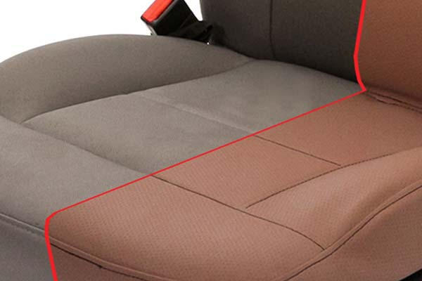 A Closer Look Into The Superior Fabric Of Saddleman Tweed Seat Covers In Camel Detail