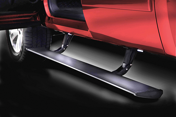 amp power step running boards installed on 2 door jeep shown extended