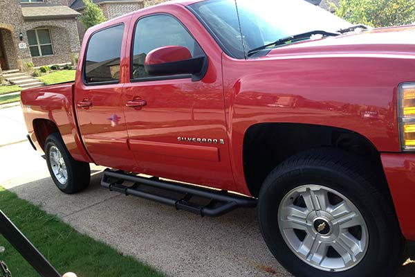 rbp rx3 black nerf bars installed on red chevy silverado