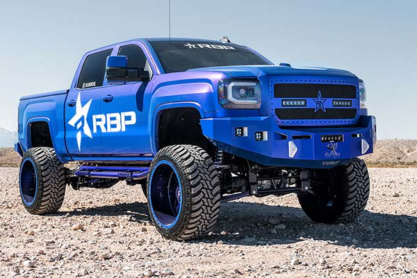 rbp rx3 custom painted nerf bars on blue truck
