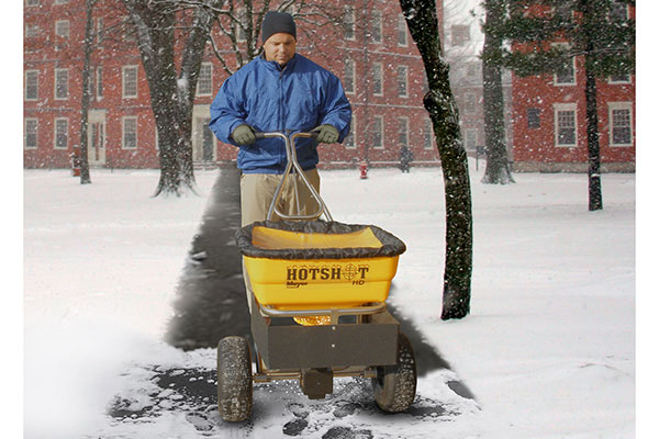 meyer hotshot walk behind salt spreader hot shot in use