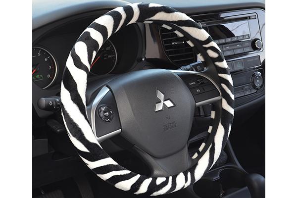 animal print steering wheel cover installed