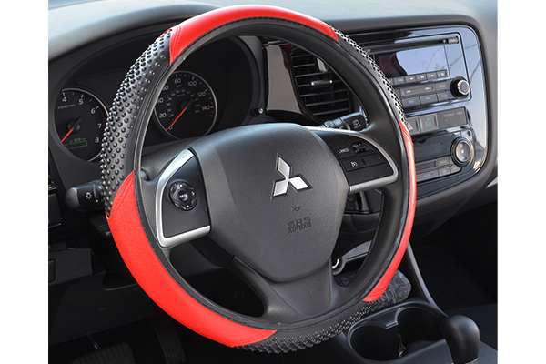 massage grip steering wheel cover red installed