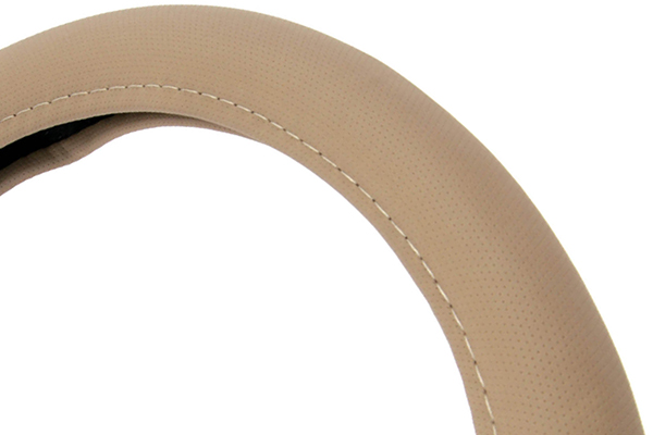 perforated leatherette steering wheel cover beige detail