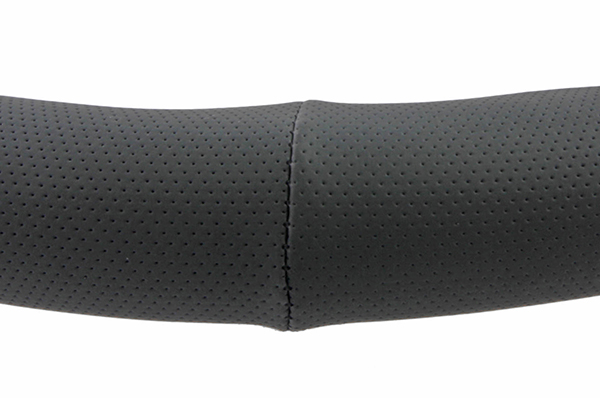 perforated leatherette steering wheel cover black seam detail
