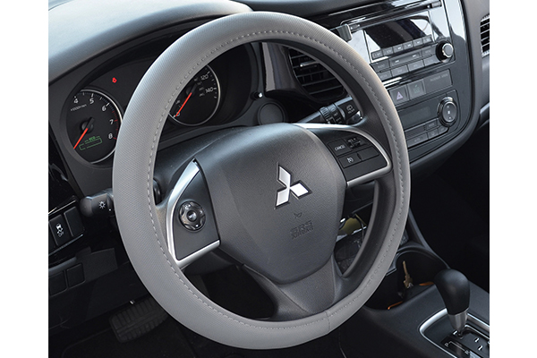 perforated leatherette steering wheel cover grey installed