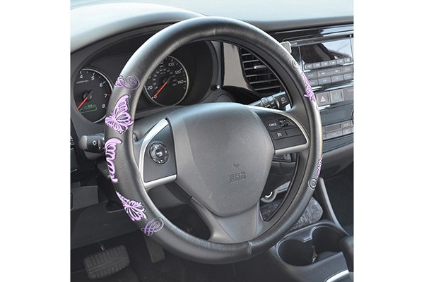proz novelty steering wheel cover installed butterflys