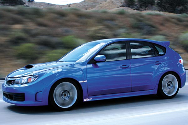 eibach pro springs installed on blue Subaru STI