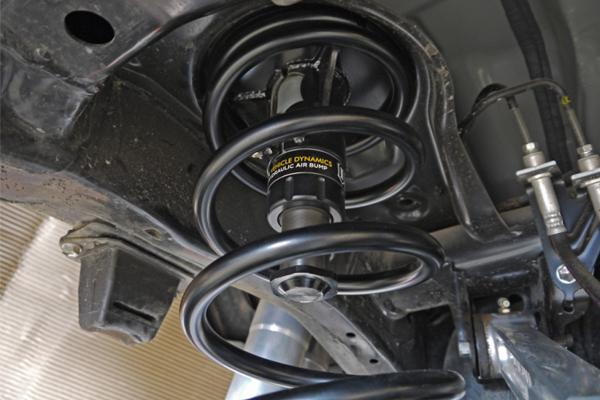 icon hydraulic air bump stop systems toyota fj cruiser rear hydraulic air bumpstop installed