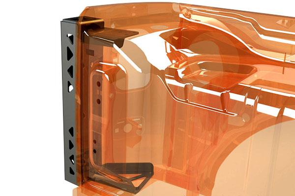 poison spyder body mounted tire carrier driver bracket cutaway