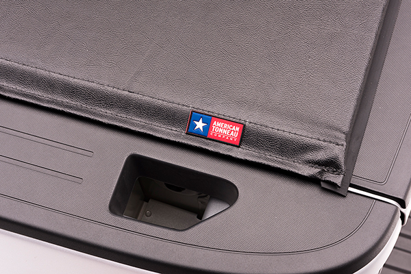 american tonneau soft roll up tonneau cover logo detail