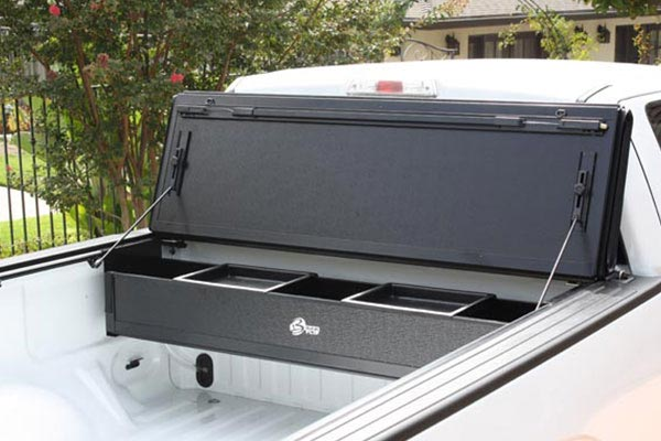 bak bakflip g2 and bakbox tonneau toolbox folding out