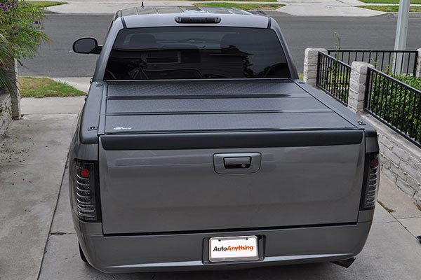 bak bakflip g2 and bakbox tonneau toolbox with tonneau folded down