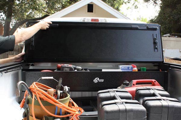 bak bakflip g2 and bakbox tonneau toolbox with tools