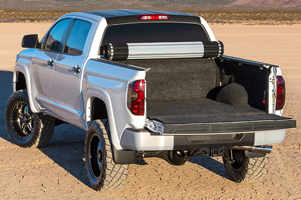 bak revolver x2 roll up tonneau cover tundra on lake bed lifestyle