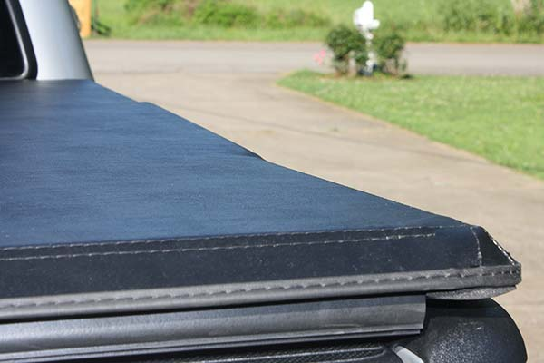 Close-Up of Tonno Pro Hard Fold Tonneau Cover Installed on 2013 Toyota Tacoma Short Bed - Customer Submitted Image