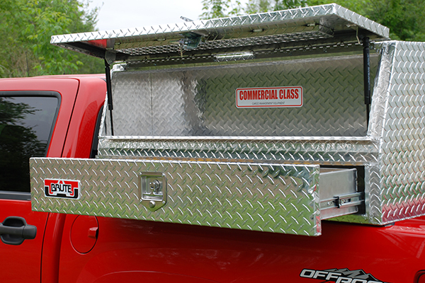 brute pro series contractor topside toolbox open on truck