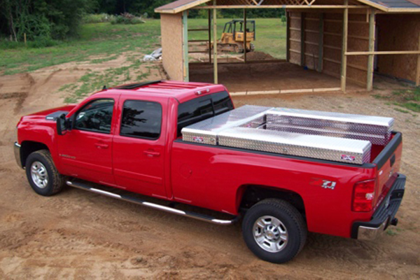 brute pro series losider side rail toolbox closed in truck