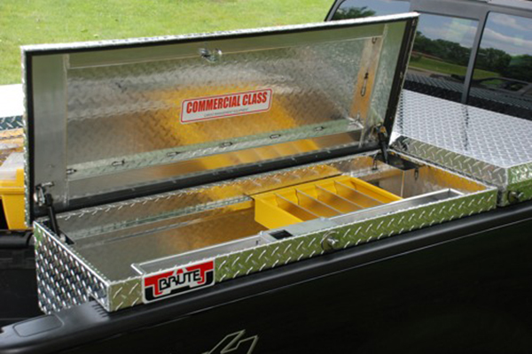 brute pro series losider side rail toolbox open on truck