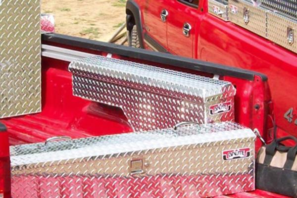 brute pro series pork chop wheel well toolbox in truck