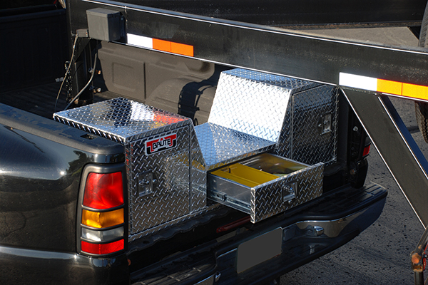 brute pro series v shape 5th wheel toolbox in truck