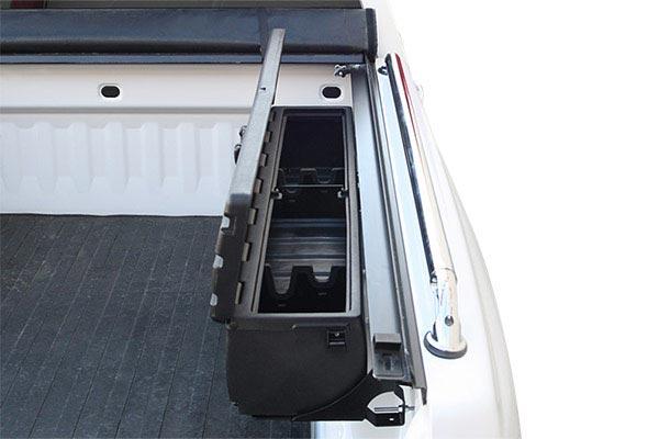 du ha humpstor truck bed storage case installed lid open gun racks