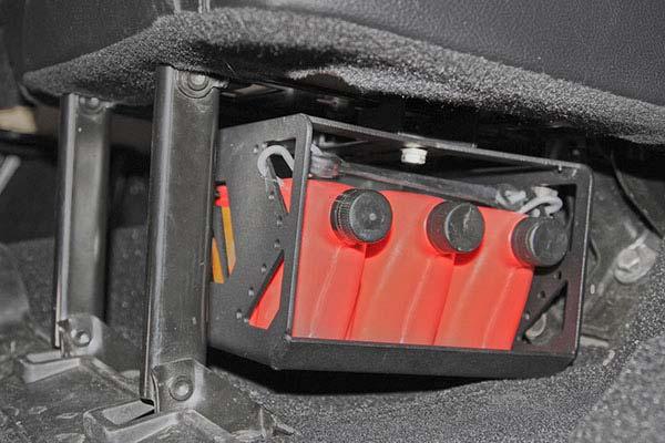 fab fours under seat fluid storage installed