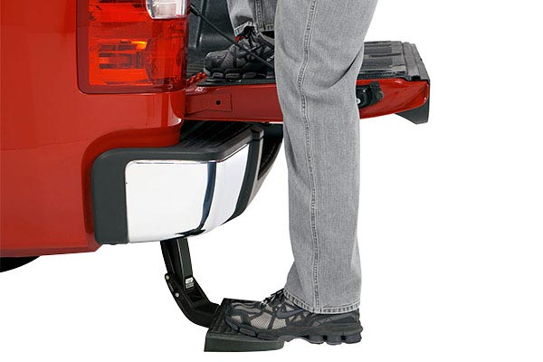 amp research bedstep retractable truck step in use detail