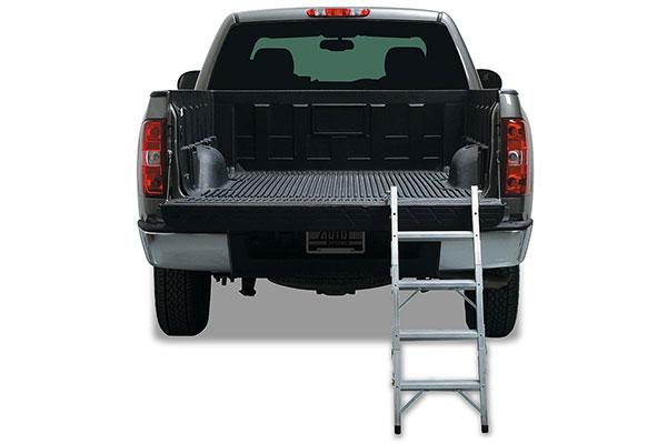 rear of truck ladder extended