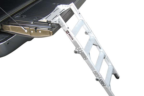 ladder extended to ground