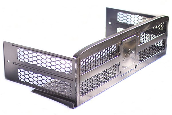 x treme gate slide out truck bed extender side view on white