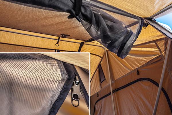 smittybilt overlander rooftop tent mosquito net