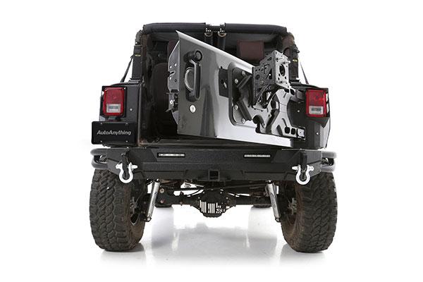 smittybilt pivot heavy duty oversize tire carrier installed door open