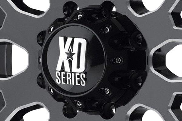 kmc XD808 gloss black milled accent center cap