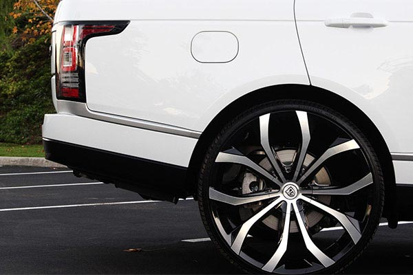 lexani lust black machined wheels range rover profile