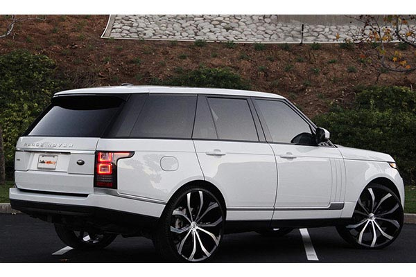 lexani lust black machined wheels range rover rear