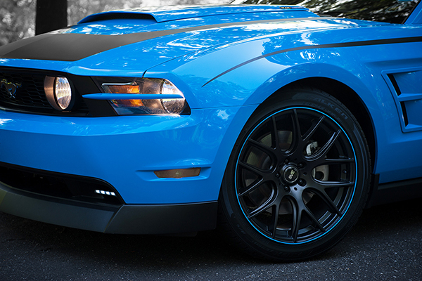 rimpro tec wheel bands blue mustang installed