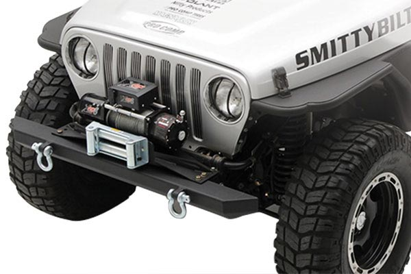 smittybilt winch plate jeep shot close up