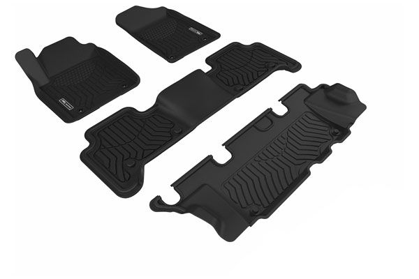 """3d maxpider maxtrac front, 2nd and 3rd row floor mats sample"""