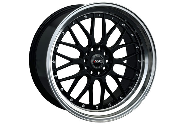 xxr 521 wheels gloss black with machined lip and chrome rivets sample