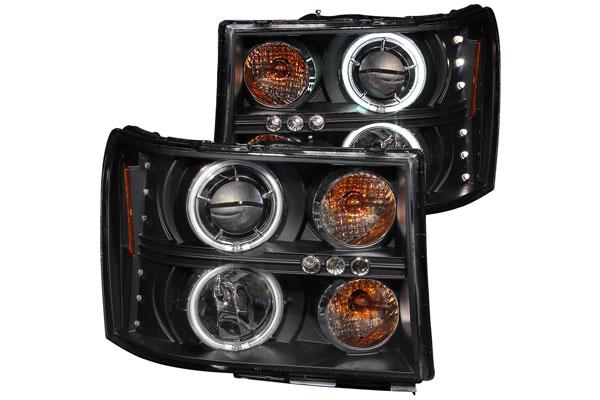 2009 GMC Sierra Anzo USA Headlights in Black, Projector Headlights - 111125